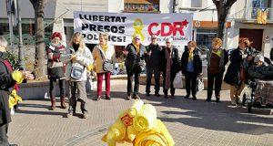 Separatistas de los CDR en un acto político en Cataluña