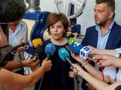Soraya Sáenz de Santamaría con los medios de comunicación