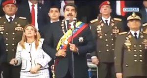 Nicolas Maduro en el supuesto atentado contra él
