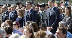 homenaje a las víctimas atentado Barcelona. Pedro Sánchez y los Reyes de España