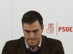 Pedro Sánchez en la sede del PSOE enfadado