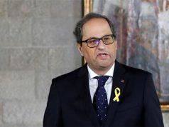 Quim Torra en una rueda de prensa en el Parlament de Catalunya