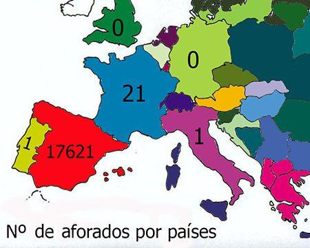 mapa del número de aforados por países