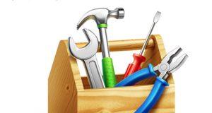 Caja de herramientas de trabajo: Martillo, destornillador...