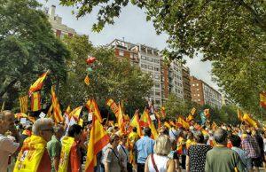 Manifestación patriota en Barcelona para exigir elecciones al socialista Pedro Sánchez