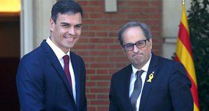 Pedro Sánchez y Quim Torra en el Palacio de la Moncloa