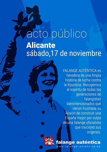 Cartel de Falange Auténtica. Acto político de Falange Auténtica en Alicante