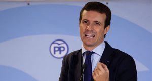 Pablo Casado en un mitin del Partido Popular