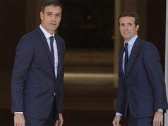 Pedro Sánchez y Pablo Casado en el Palacio de la Moncloa
