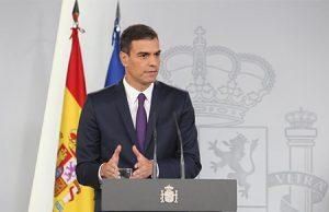 El Presidente Pedro Sánchez en una rueda de prensa