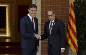 Quim Torra junto a Pedro Sánchez en el Palacio de la Moncloa