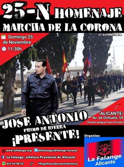 Marcha de la Corona de La Falange en Alicante por Jose Antonio Primo de Rivera