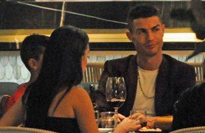 Cristiano Ronaldo con Georgina en un restaurante de Londres
