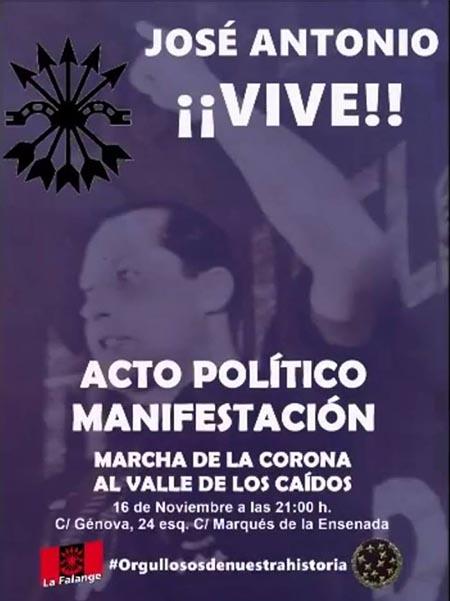 Cartel de Falange Española del acto política de la marcha al Valle de los Caídos