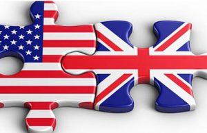 Puzzle con la bandera de Estados Unidos y la bandera de Inglaterra