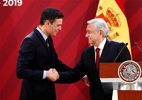 Pedro Sánchez y López Obrador en Mexico