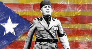 Mussolini con la bandera separatista Cataluña