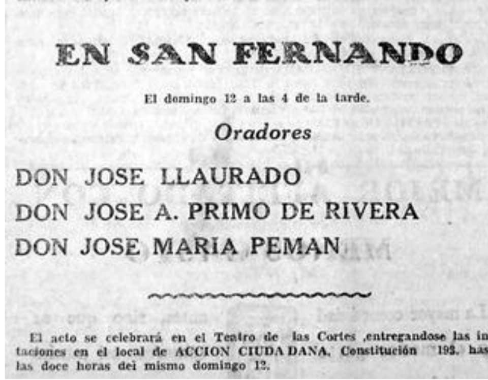 Acto de Falange Española en San Fernando con José Primo de Rivera