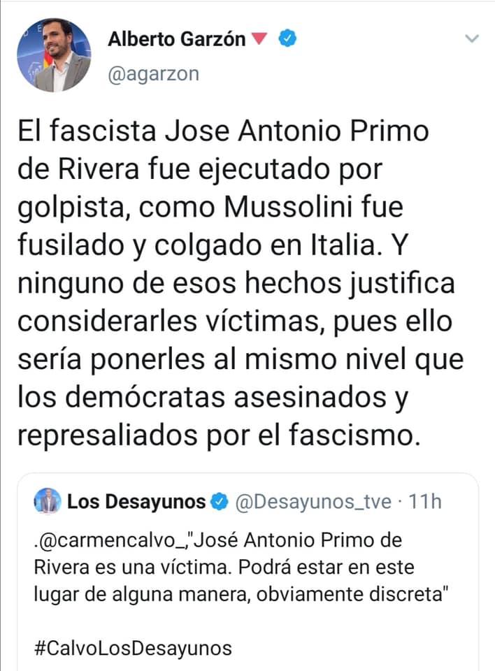 Alberto Garzón de Izquierda Unida y Podemos justifica el asesinato de Jose Antonio Primo de Rivera