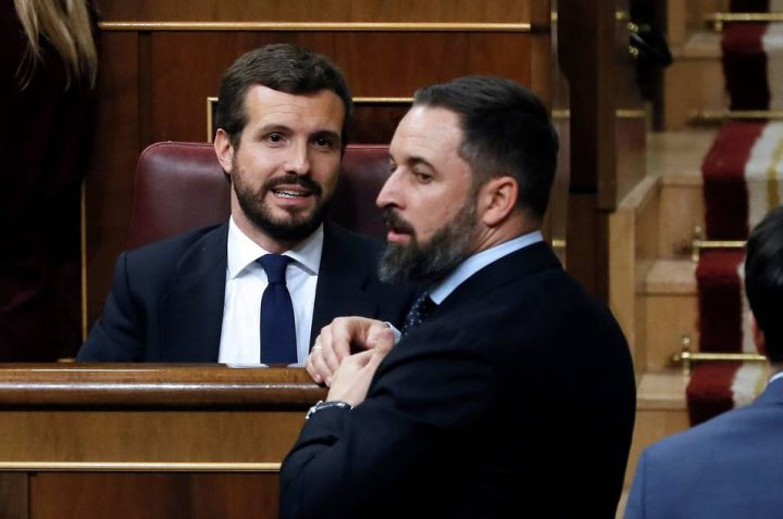 Pablo Casado y Santiago Abascal en el Congreso