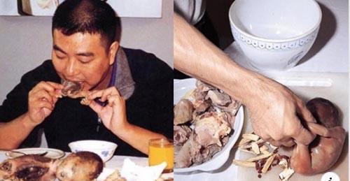 Comida en China de fetos humanos en restaurantes